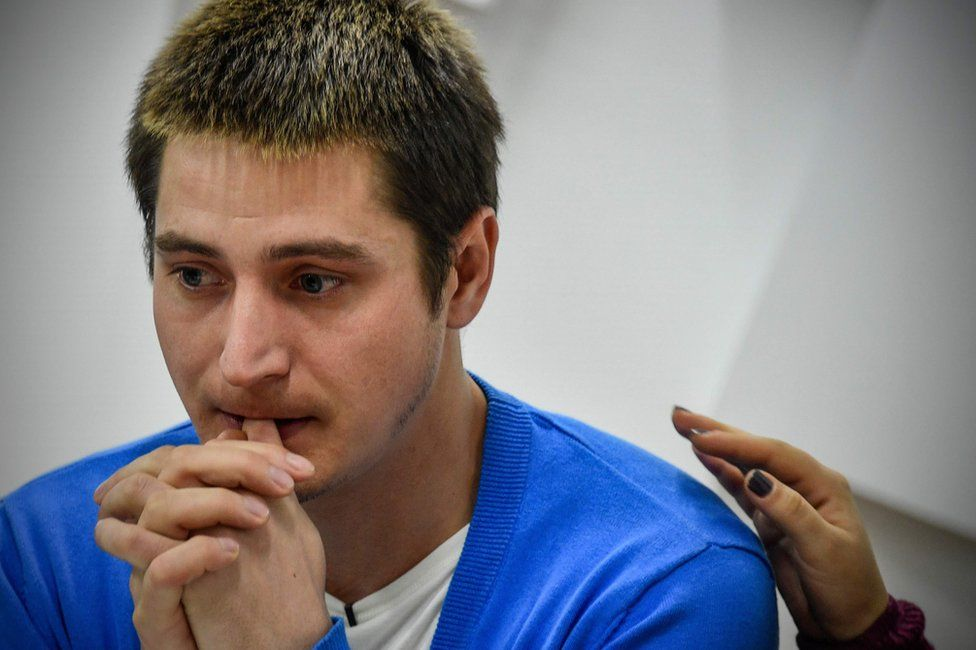 Maxim Lapunov, 30, gives a press conference in Moscow on October 16, 2017