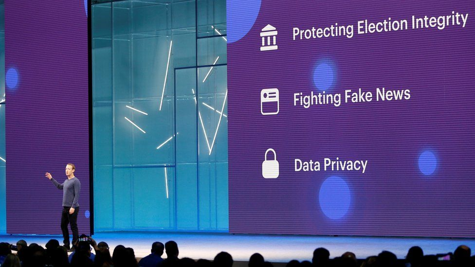 """Facebook CEO Mark Zuckerberg speaks about protecting election integrity, fighting """"fake news"""" and data privacy at Facebook Inc""""s annual F8 developers conference in San Jose, California, U.S. May 1, 2018."""