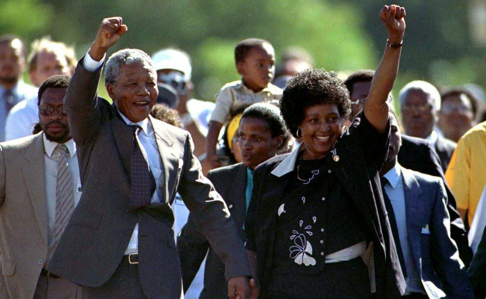 Nelson Mandela with his wife Winnie Mandela on the day he was released from prison in South Africa on 11 February 1990