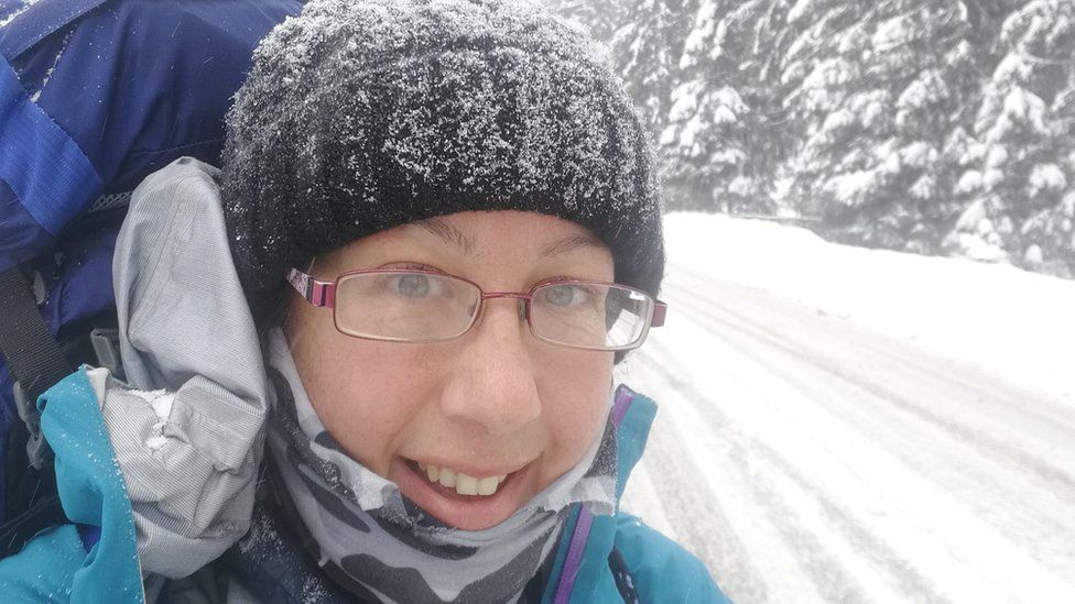 Ursula had to deal with all types of weather including snow in Romania