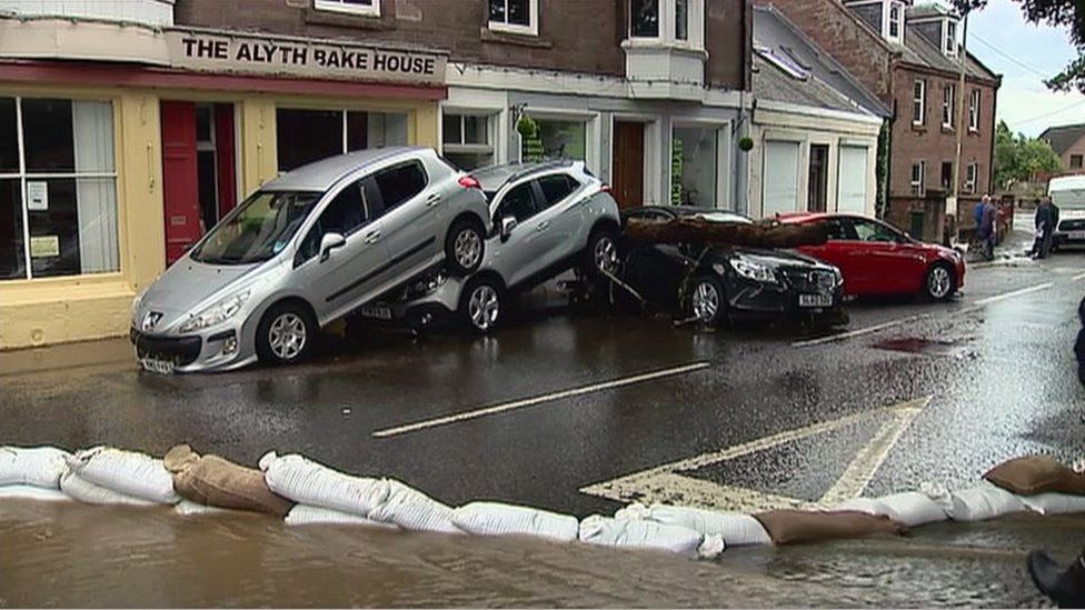 The flooding in the Perthshire town of Alyth left cars badly damaged
