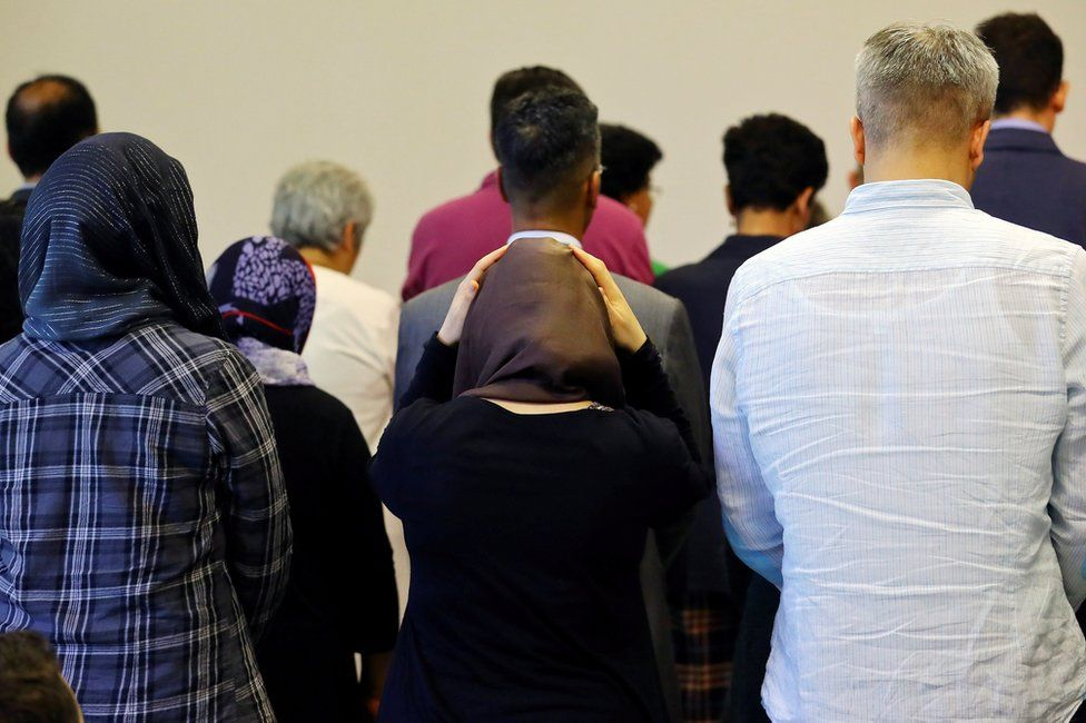 Men and women pray together at the Ibn Rushd-Goethe mosque, 16 June