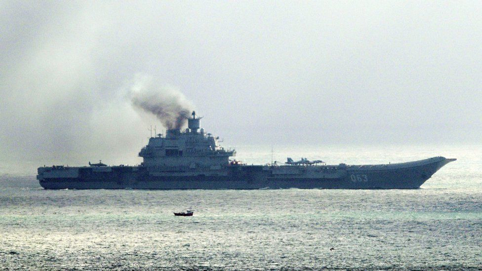 File photo dated 21/10/2016 of the Russian aircraft carrier Admiral Kuznetsov.