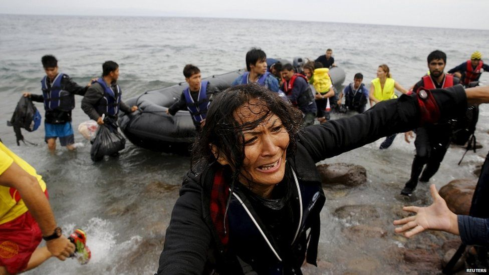 An Afghan migrant arrives in Greece
