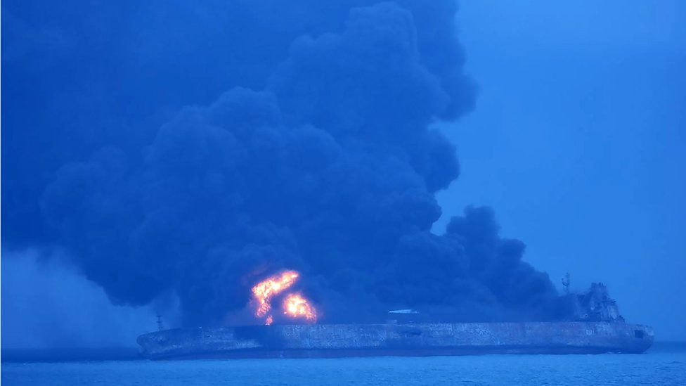 Korean coast guard handout shows the fire on the Sanchi off China's east coat