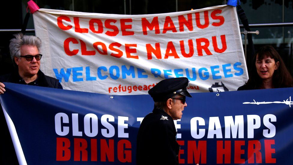 There have been protests in Australia against the detention of asylum seekers being held at centres on Papua New Guinea's Manus Island, and the South-Pacific island of Nauru, 31 August 2017