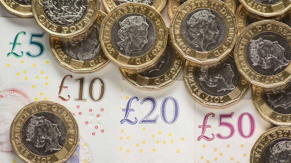 British pound coins and notes