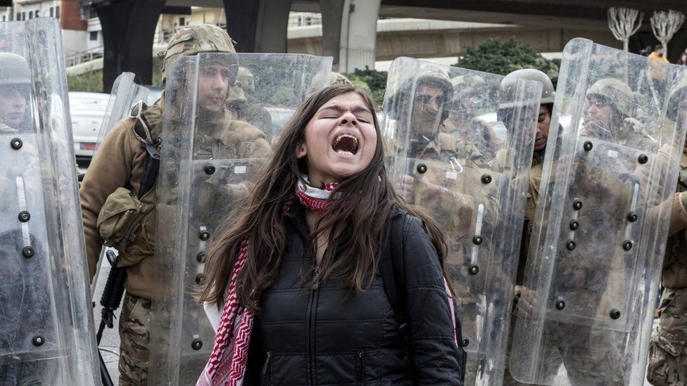 A protester takes part in anti-government demonstrators in Beirut, Lebanon, 11 February 2020