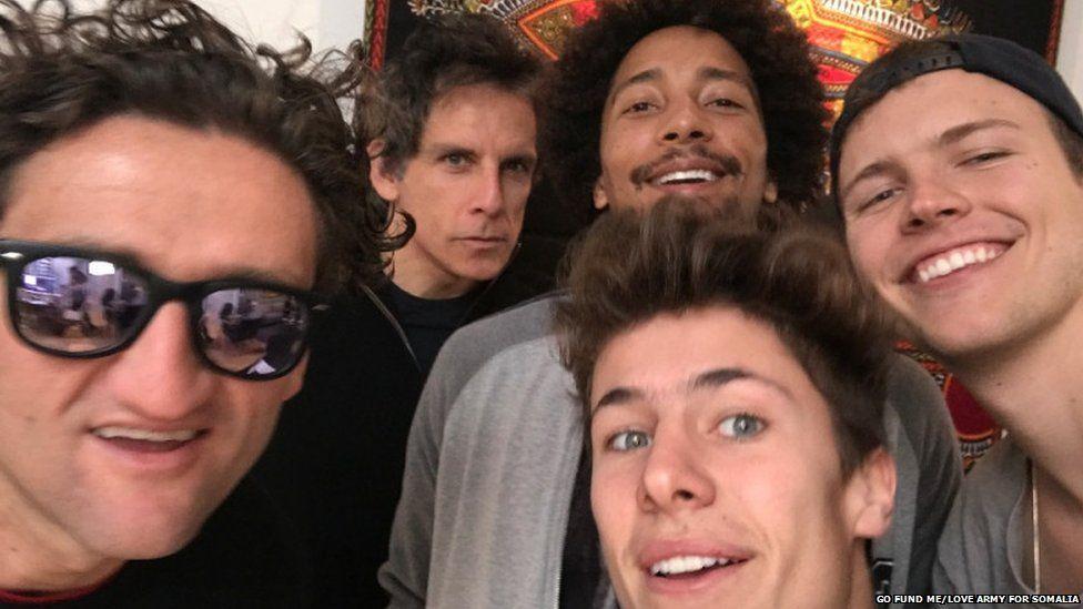 Ben Stiller with a group of social media stars