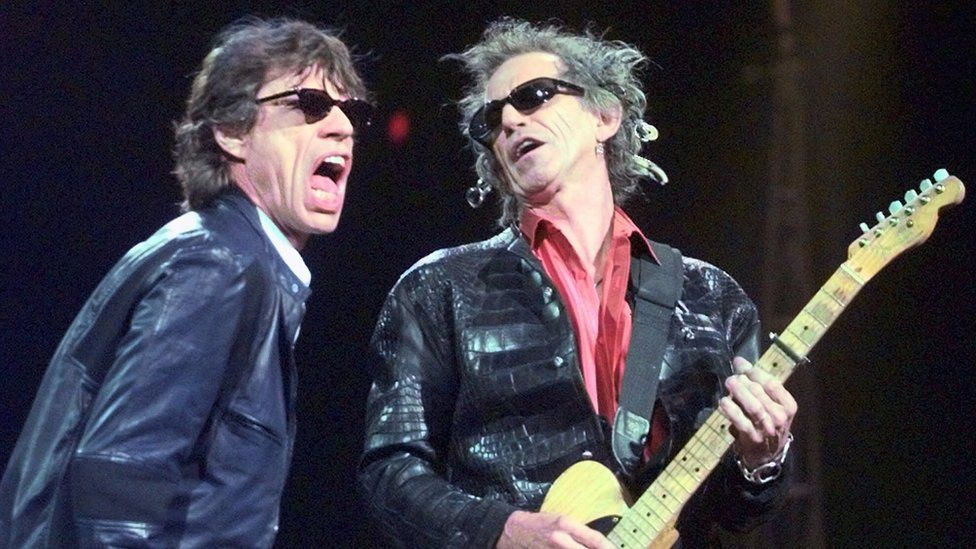 Mick Jagger, Keith Richards on stage