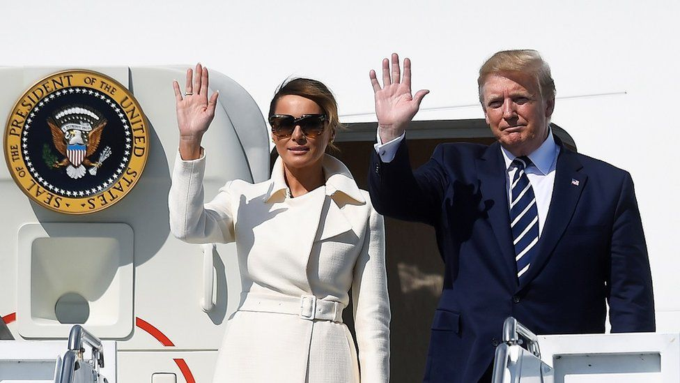 Donald Trump and Melania Trump leave Air Force One at Shannon Airport
