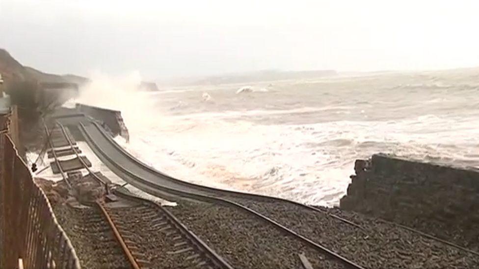 Dawlish rail line after sea damage