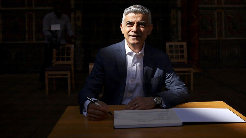 Mayor of London Sadiq Khan signs in for a second term