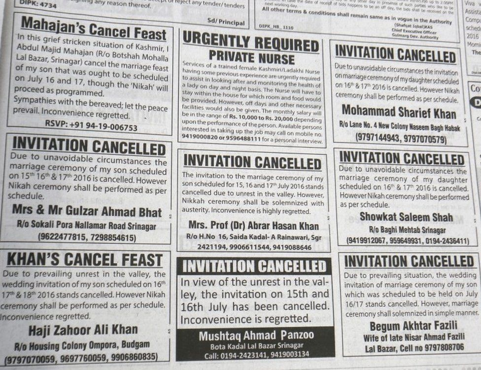 A classified page of a local newspaper filled with cancellation of marriage invitations in Srinagar, the summer capital of Indian Kashmir, 14 July 2016.