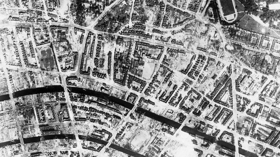 Aerial image of firestorm area