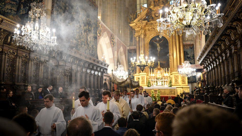 The celebrations of the Holy Thursday mass in Wawel Royal Cathedral, in Krakow