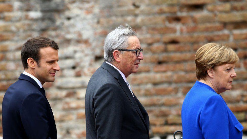 Emmanuel Macron, Jean-Claude Juncker and Angela Merkel