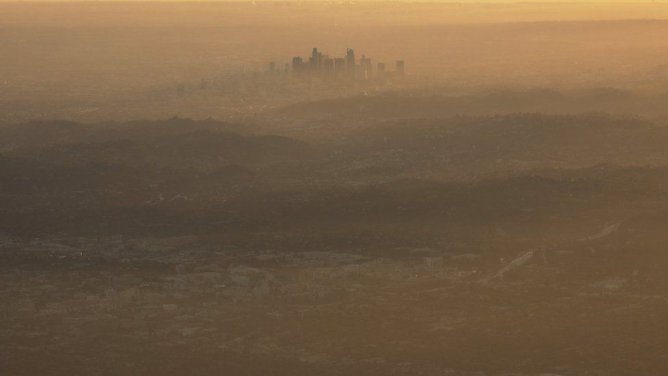 A view of smog over Santiago, Chile on 9 July 2018