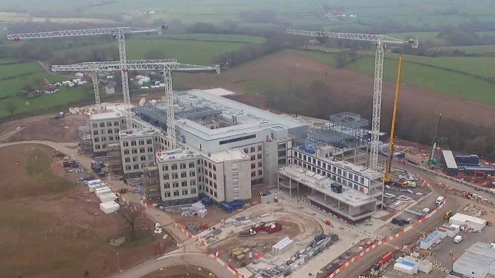 An aerial shot of Grange University Hospital