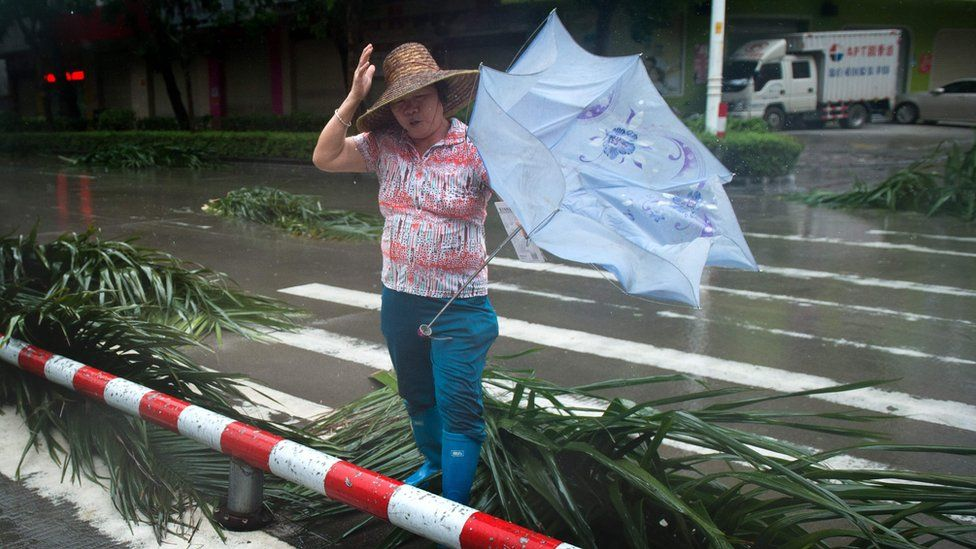 A woman crosses a road with palm tree debris in Yangjiang in China's Guangdong province on 16 September 2018