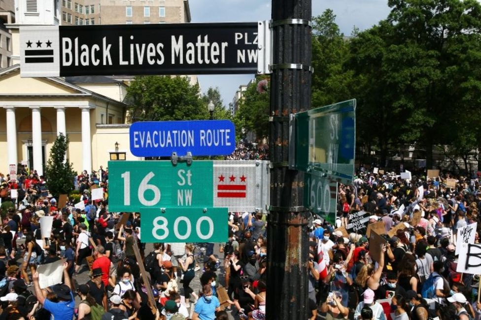 The city's mayor approved the painting of words Black Lives Matter on the street on Fridaay