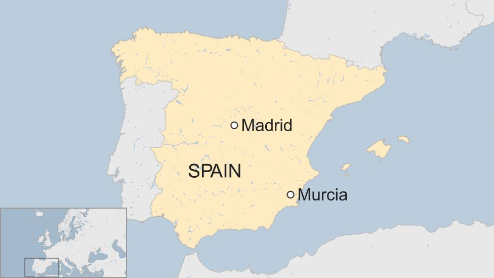 Map showing Murcia in south-east Spain