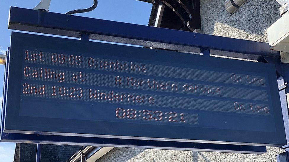 Train information sign at Kendal station