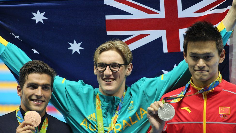 Italy's Gabriele Detti, Australia's Mack Horton and China's Yang Sun