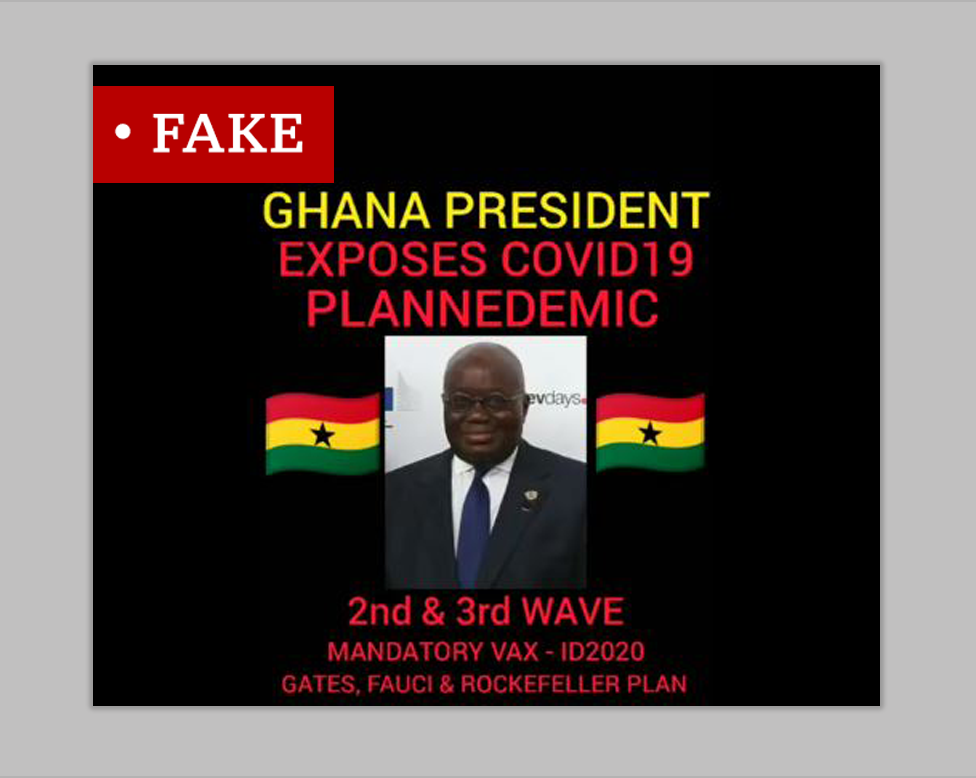 """A meme labelled Fake. It contains picture of Ghana's president and Ghanaian flags alongside the words """"Ghana president exposes covid19 Plannedemic""""."""