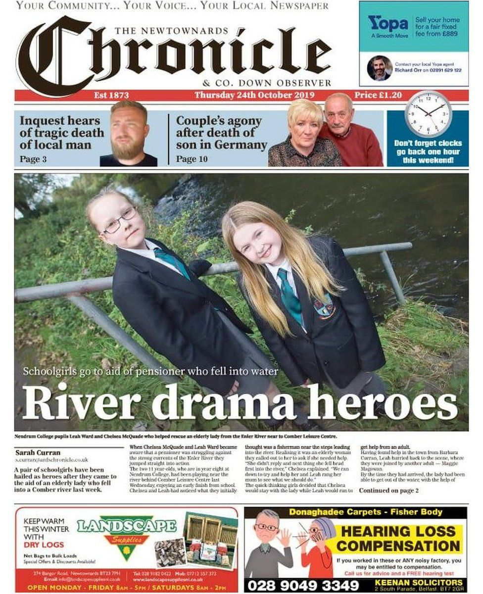 Newtownards Chronicle front page