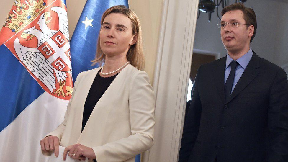 EU foreign affairs chief Federica Mogherini and Serbian Prime Minister Aleksandar Vucic, 2015 file pic
