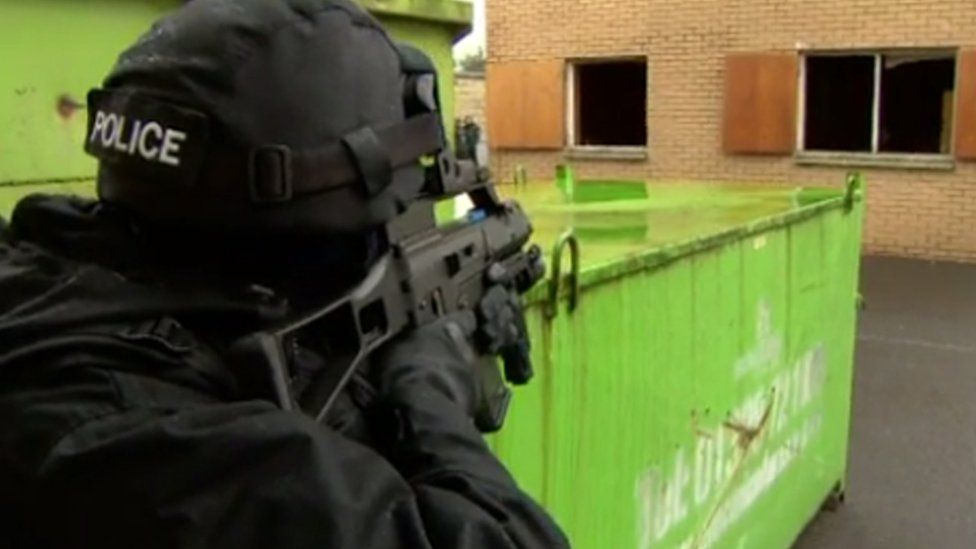 A counter-terrorist specialist firearms officer on training exercise