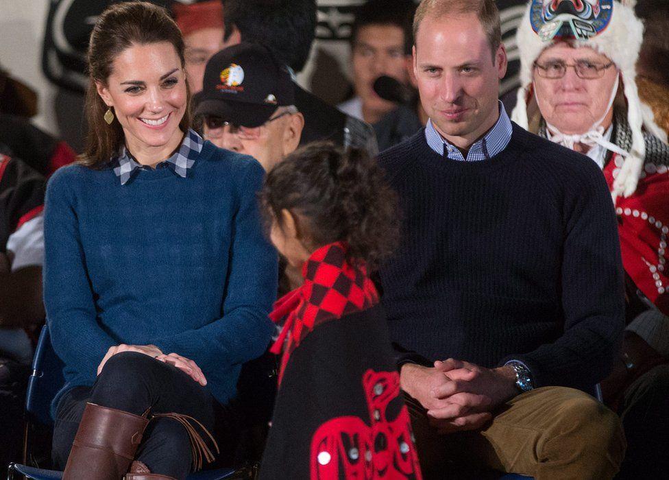 The Duke and Duchess of Cambridge at a ceremony in Bella Bella