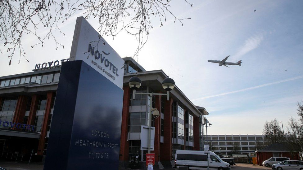 A hotel near Heathrow that is being prepared for use as a quarantine hotel