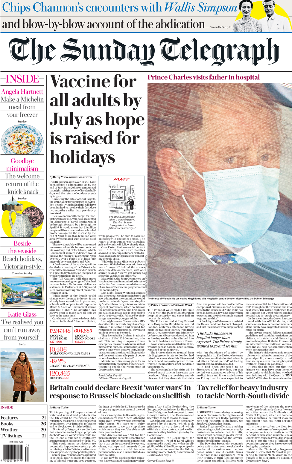The Sunday Telegraph front page 21 February 2021