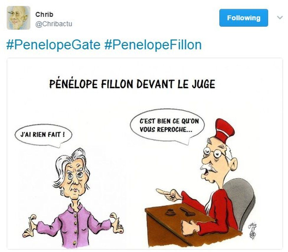 @Chribactu's cartoon shows Penelope Fillon saying 'I haven't done anything' and the judge saying 'That's exactly why we're investigating you'