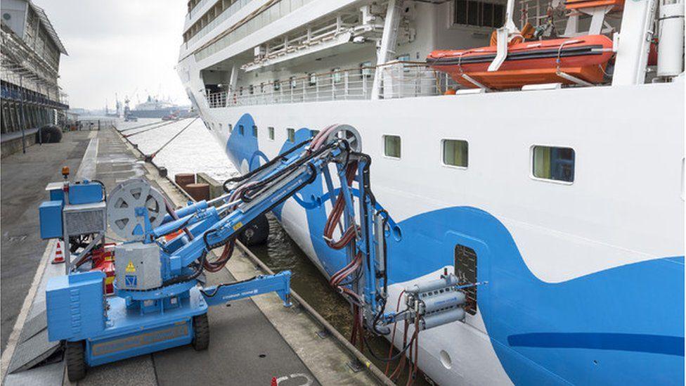 Cruise ship shore power station in Hamburg