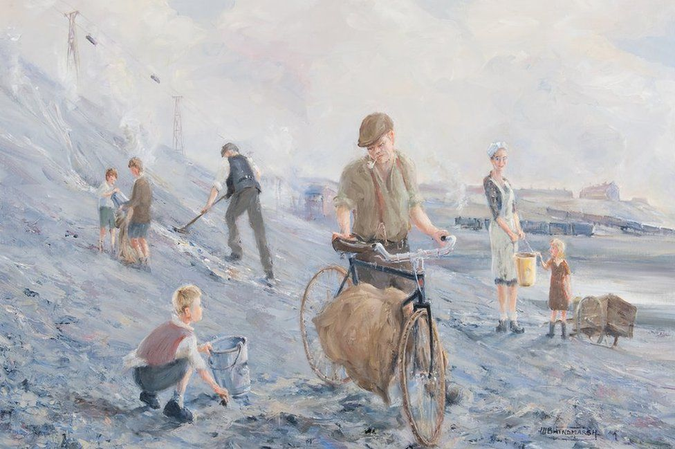 A painting by Bill Hindmarsh showing young children working alongside men and women picking coal