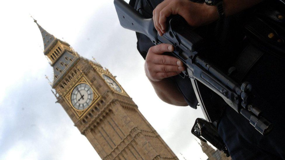 Armed police outside Houses of Parliament