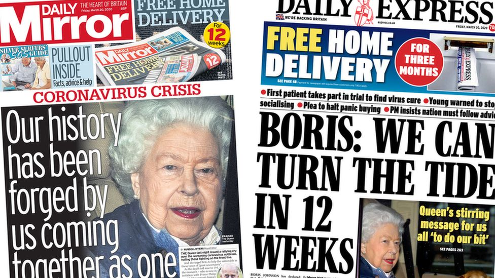 Daily Mirror and Daily Express front pages