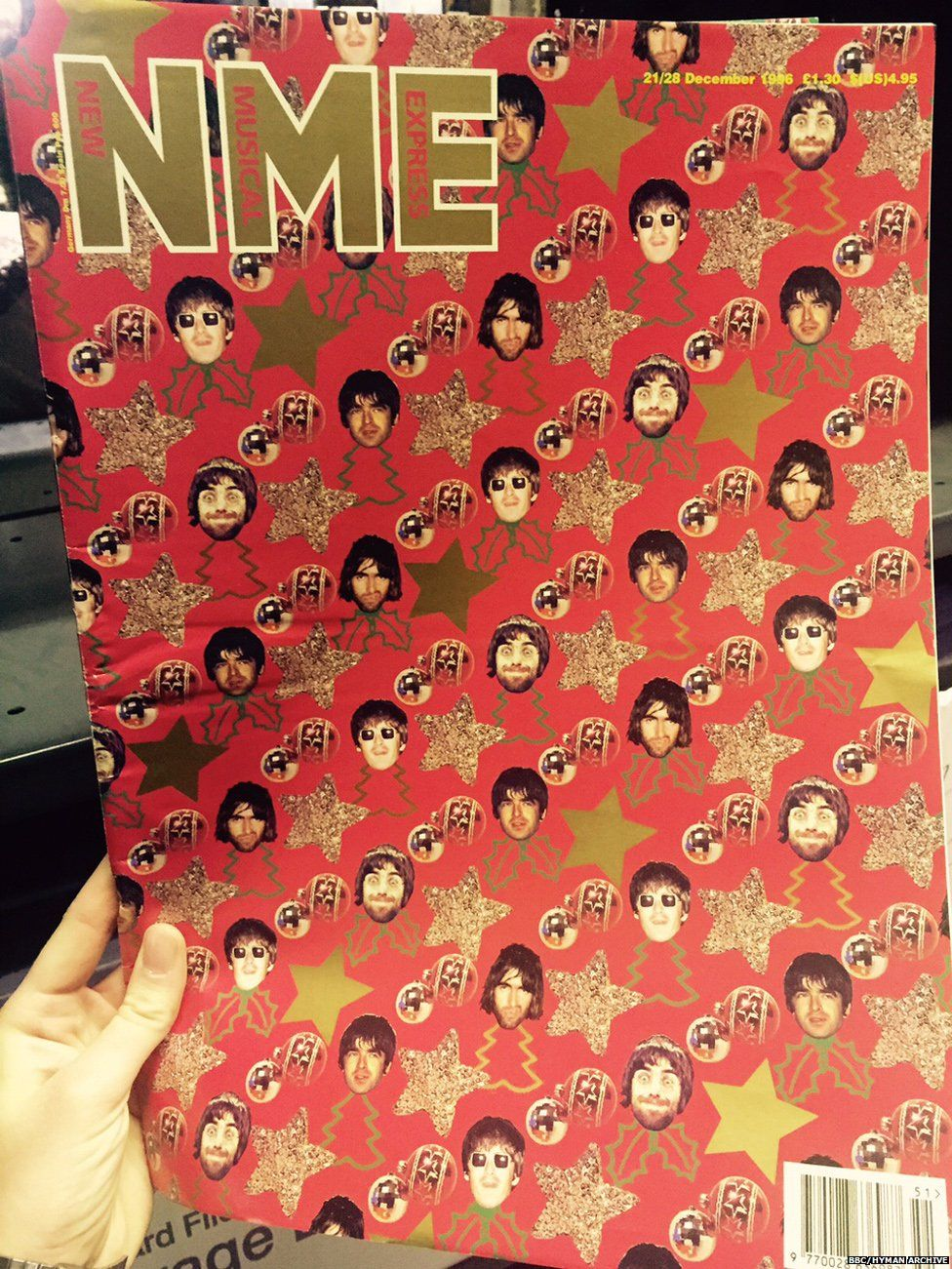 Liam Gallagher wrapping paper, NME 1996