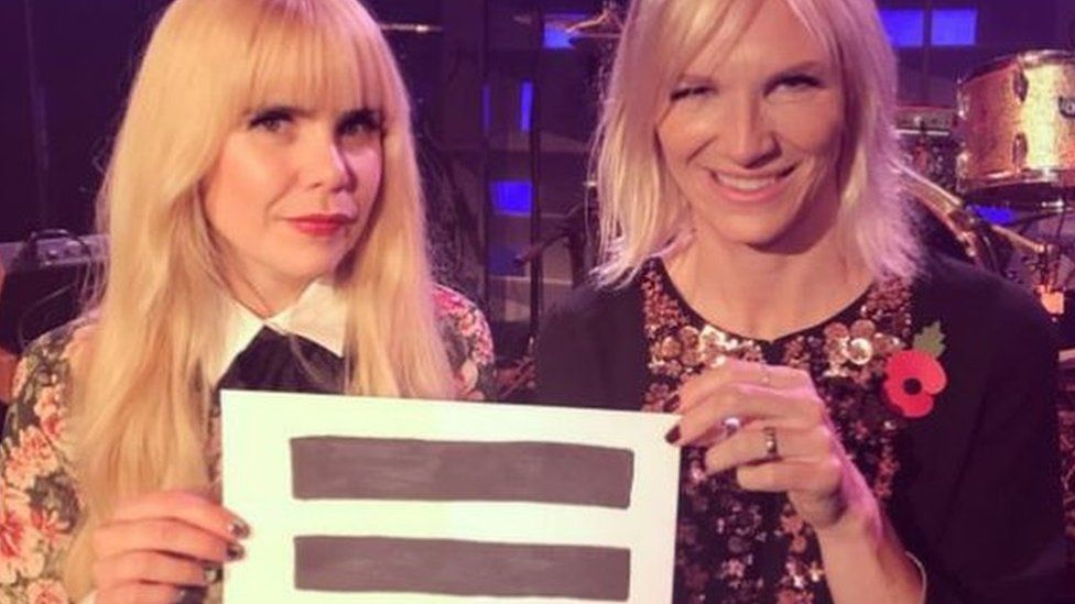 Screenshot of Jo Whiley's Twitter pic of herself and Paloma Faith