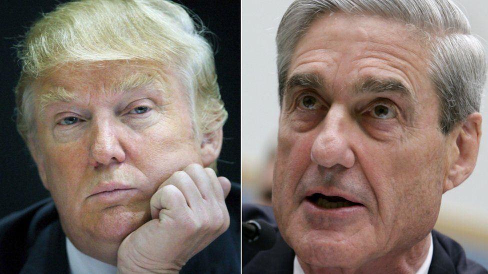 Side-by-side collage of President Trump and Robert Mueller