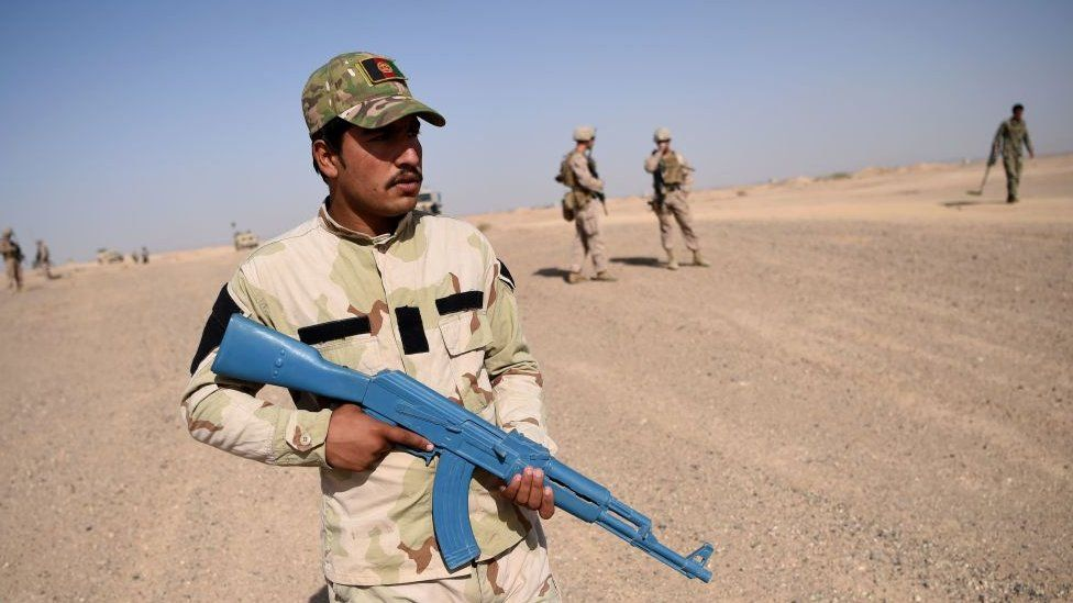 An Afghan soldier participates in a US-led training exercise