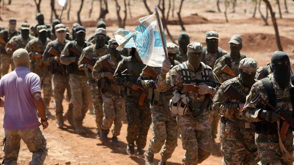 Hayat Tahrir al-Sham fighters train in northern Idlib province, Syria (14 August 2018)