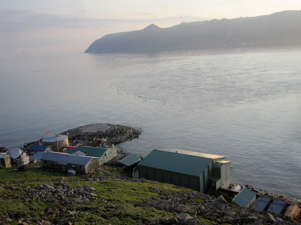 Little Diomede village with Russia in the background