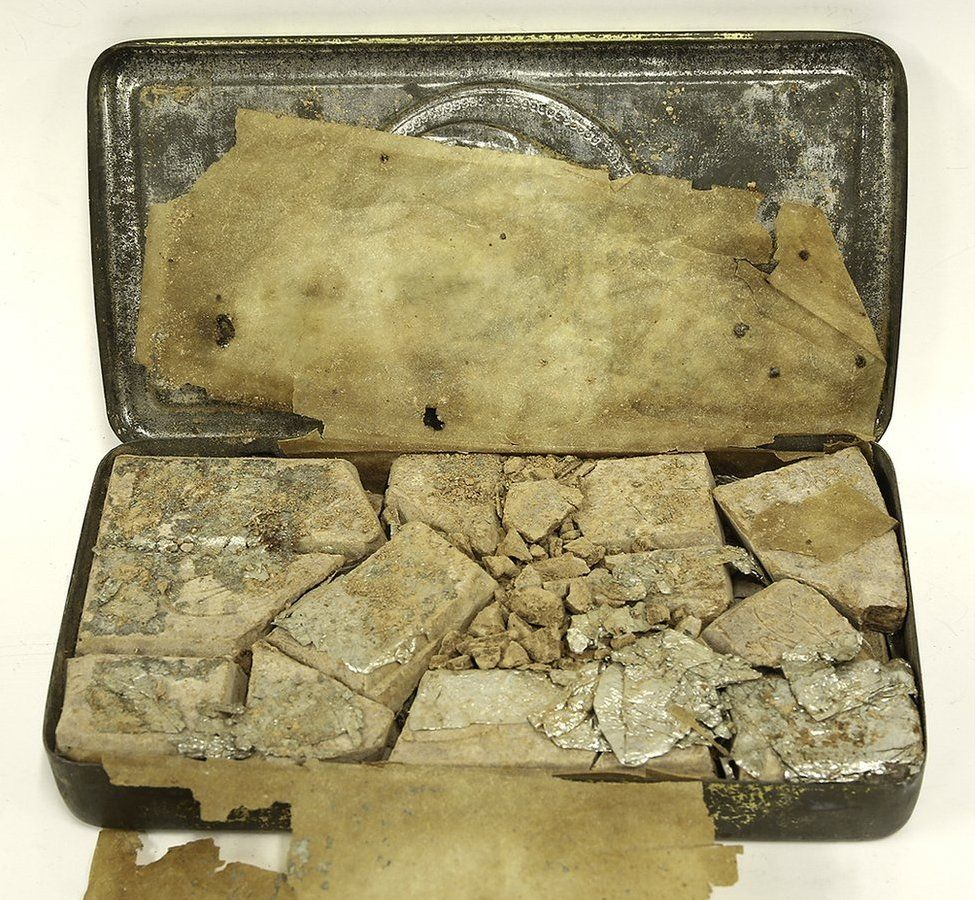 Chocolate in 118-year-old tin
