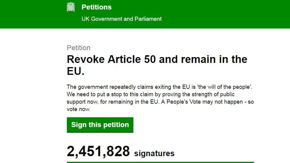 Screen grab of EU petition