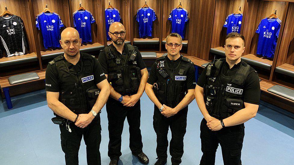 L to R: PC Kevin Marsh, PC Steve Quartermain, PC Michael Hinton, Sgt Mike Hooper