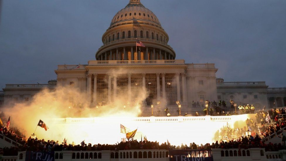 An explosion outside the US Capitol after a mob occupied it in January 2021